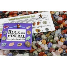Tumbled Polished Natural Gem Stones + Educational ID Sheet & 24 page Rock & Mineral Book. Stone Average Size ¾ inch. Choose 1, 2, 5, 11 or 22 Pounds. Dancing Bear Brand