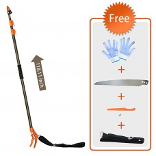 Finether Telescopic Long Reach Aluminum Cut & Hold Pole Pruner and Saw, Branch Trimmer with Bypass Pruner, Saw Blade, Guide Rod, Work Gloves, 1 Extension (2 Sections), Extends from 4.3 to 6.6 ft