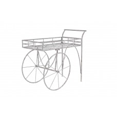 Decmode Rustic Iron 2-Wheel Garden Cart Planter, White   566924713