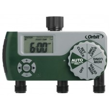 Orbit One Dial 3 Port Digital Hose Faucet Water Timer, Lawn Watering - 56082