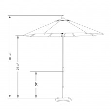 California Umbrella Grove Series Patio Market Umbrella in Pacifica with Wood Pole Hardwood Ribs Push Lift   567155544