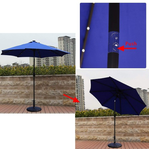 Blue Led Umbrella: Kinbor 9FT Metal Solar Powered LED Lighted Patio Umbrella