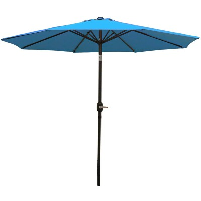 Sunnydaze 9 Foot Aluminum Outdoor Patio Umbrella with Tilt & Crank, Navy Blue   567147520