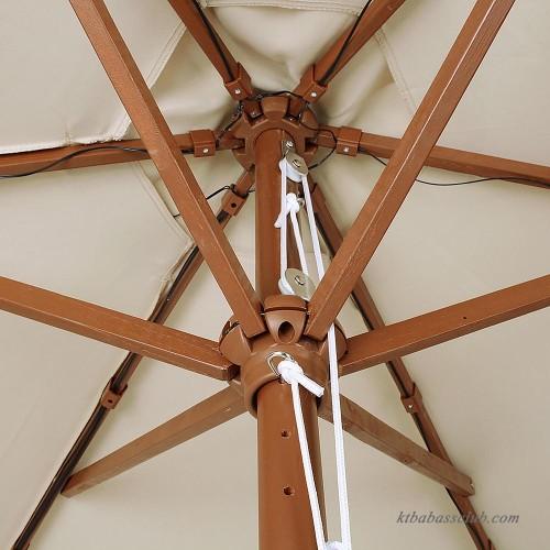 Light Pole Wood: Yescom 9'/8ft Wooden Outdoor Patio Wood Pole Umbrella W