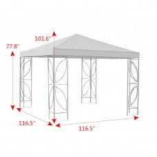 Costway Patio 10'x10' Square Gazebo Canopy Tent Steel Frame Shelter Awning W/Beige Cover