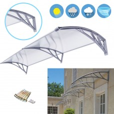 Zeny 80''x 40'' Window Awning Outdoor Polycarbonate Front Door Patio Cover Canopy
