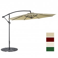 Cloud Mountain 10 Ft Cantilever Patio Umbrella Cantilever Offset Beach Umbrellas Outdoor UV Resistant Polyester 8 Steel Ribs Beach Hanging Offset Patio Umbrellas with Cross Stand