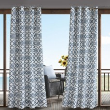 Charlton Home Barrows Geometric Semi-Sheer Outdoor Grommet Single Curtain Panel