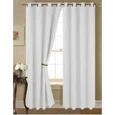 "(K68) WHITE 2-Piece Indoor and Outdoor Thermal Sun Blocking Grommet Window Curtain Set, Two (2) Panels 35"" x 63"" Each"