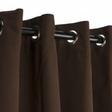 Sunbrella Canvas Bay Brown Outdoor Curtain with Nickel Plated Grommets 50 in. x 84 in.