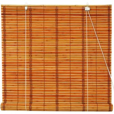 Burnt Bamboo Roll Up Blinds, 2-Tone Honey   554873300