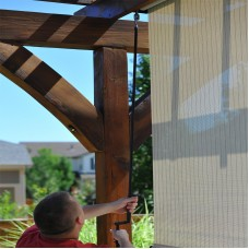 Keystone Fabrics, Valanced, Cord Operated, Outdoor Solar Shade, 4' Wide x 8' Drop, Larkspur   555618467